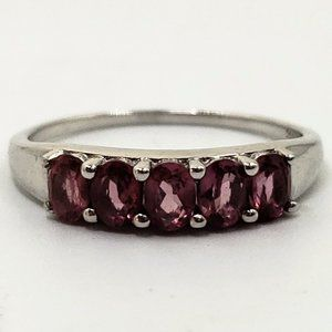 Sterling Silver 1.0 tcw Pink Tourmaline Ring Band